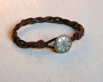 Friendship Leather Bracelet with Concha charm (20 different charms to choose)