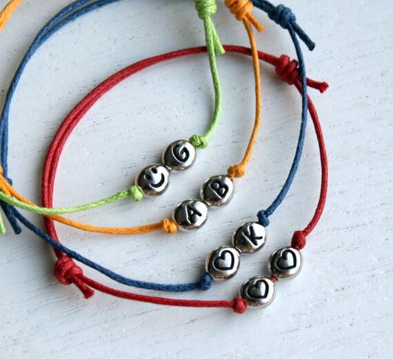 Double Heart Bracelet / Heart Initial Bracelet / Smiley Face Bracelet (many color to choose)