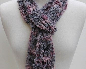 Cotton Scarf- Hand Knit- Gray and Mauve