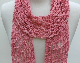 Cotton Scarf- Hand Knit/   Rose/Peach