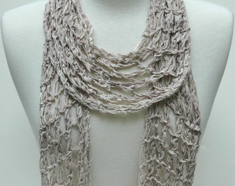 Cotton Scarf- Hand Knit/ Gray,Latte