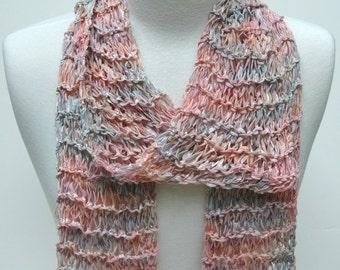 Cotton Scarf- Hand Knit/  Rose/mauve/blue