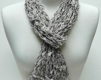 Cotton Scarf- Hand Knit/ Gray/Cream