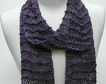 Cotton Scarf- Hand Knit- /Plum,Lavender