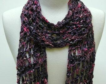 Cotton Scarf- Hand Knit/   Passionflower/ Lavender/Mauve/ Rose