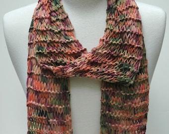 Cotton Scarf- Hand Knit/ Peach, Olive, Chianti, Green