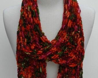 Merino Scarf- Hand Knit/  Merlot/ Orange/ Green,