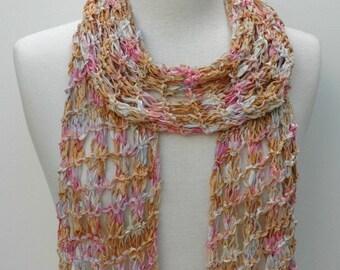 Cotton Scarf- Hand Knit- Caramel, Pink, Mauve