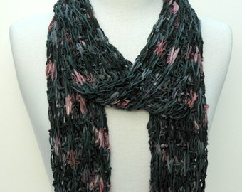 Cotton Scarf- Hand Knit/ Black, Gray. Rose