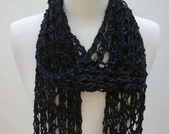 Cotton  Scarf- Hand Knit/ Black, Gray