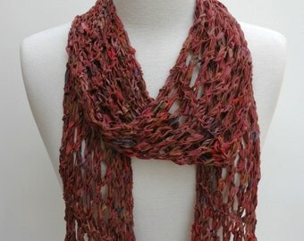 Cotton Scarf- Hand Knit / Cinnamon, Lavender, Rose