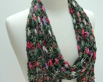 Cotton  Scarf- Hand Knit/ Green, Mauve, Merlot, Sea Green, Gray