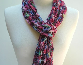 Cotton Scarf- Hand Knit/ Raspberry, Turquoise, Multicolored