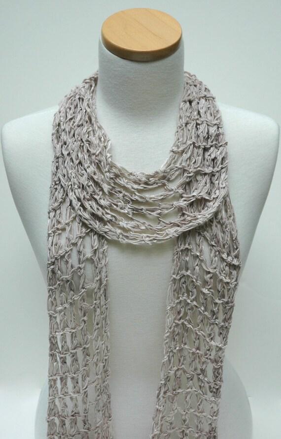 Cotton Scarf- Hand Knit/ Gray,Latte