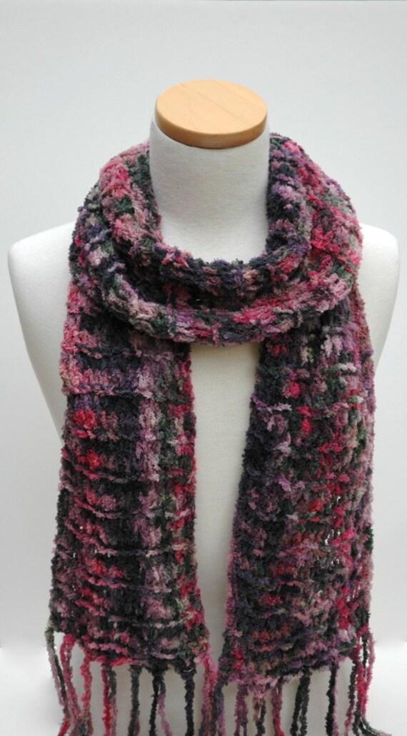 Cotton Chenille Chenille Scarf-Hand Knit/ Rose/Mauve