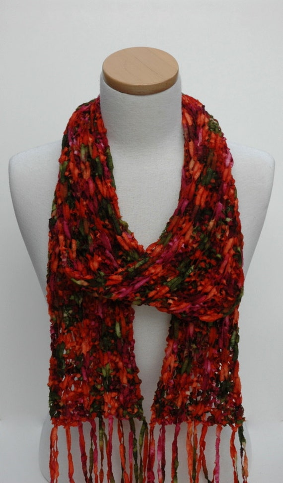 Merino Scarf- Hand Knit/  Merlot/ Orange/ Green,