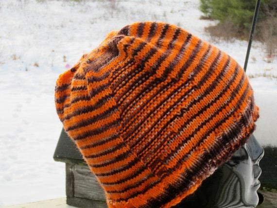 bright orange and black striped hat with subtle maine motif