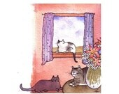 Cats Greeting Card, Cats & Flowers Watercolor Painting Illustration Print 'Cozy Cats'