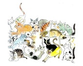 Humorous Cats Greeting Card - Card Art - Funny Blank Cats Card - Watercolor Cats Painting Illustration Print 'Crazy Cats'