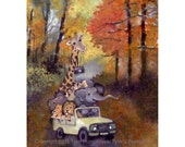 Funny Animals Greeting Card - Giraffe Elephant Lion Hippopotamus Autumn Fall Landscape Watercolor Card Painting Print 'Leafpeekers'