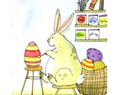 Easter Card - Funny Easter Bunny Greeting Card - Kids Easter Card - Easter card for Children 'The Artist At Work'