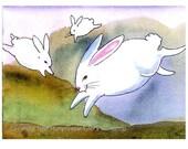 Rabbit Card - Watercolor White Rabbits Illustration Greeting Card Print - Funny Bunny Art