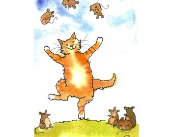 Funny Cat Greeting Card - Cat Art - Cat Juggling Mice Watercolor Painting Illustration Cartoon Greeting Card Print 4x6