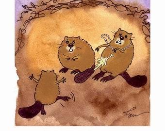 Beavers Art - Beaver Greeting Card - Funny Beaver Card - Beaver Watercolor Painting Illustration - Beaver Cartoon Print 'Beaver Dancer'