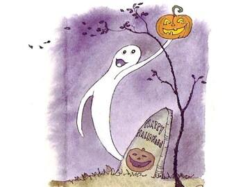 Halloween Card, Halloween Greeting Card, Ghost Halloween Handmade Card  'Ghost In The Graveyard'