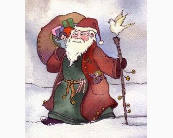 Santa Clause Card- Santa Christmas Greeting Card- Santa Watercolor Painting Illustration Print - Santa Clause Art