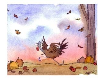Thanksgiving Card - Funny Thanksgiving Turkey Greeting Card - Fall Autumn Watercolor Painting Illustration Cartoon Print 'Turkey Trot'