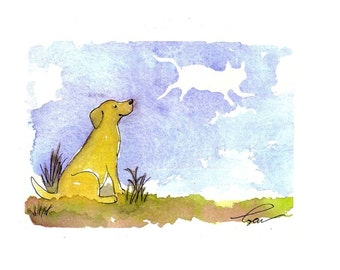 Dog Card Funny Watercolor Yellow Labrador Retriever Greeting Card Humorous Dog and Cat Greeting Card