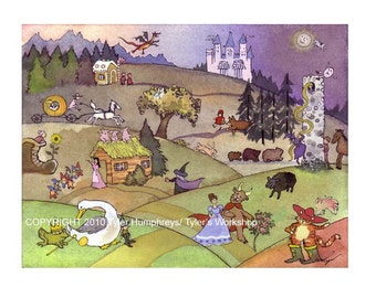 Childrens Greeting Card - Fairy Tales Nursery Rhymes Watercolor Painting Print  Illustration 'Once Upon A Time...'