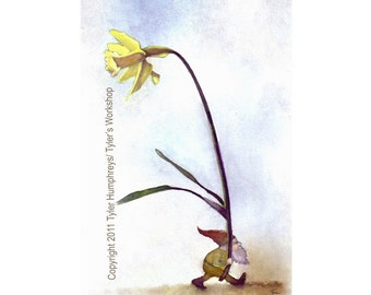 Gnome Art, Gnome Card, Gnome & Daffodil Flower Watercolor Gouache Painting Illustration Greeting Card Print