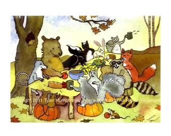 Woodland Animals Greeting Card, Animal Card, Bear Rabbit Fox Crow Raccoons Squirrels Opossum Mice Watercolor Animal Illustration Print