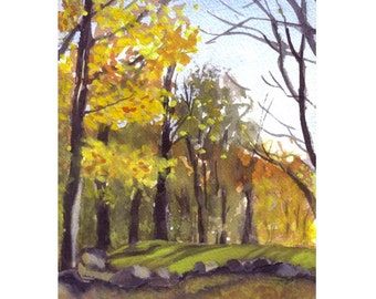 Thanksgiving Greeting Card - Autumn Fall Watercolor Landscape Art Card - Watercolor Woods Forest Painting Print