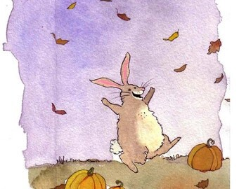 Rabbit Greeting Card - Funny Bunny Rabbit Autumn Fall Illustration Print - 'Brown Bunny Hop'