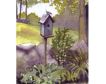 Mothers Day Card, Blue Birdhouse Card, Bird Art, Landscape Watercolor Country Rural Painting Print Bird Illustration Greeting Card Print