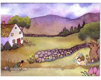 Easter Card- Easter Bunny- Landscape Rabbit Spring Easter Watercolor Painting Illustration Print 'Easter Morning'