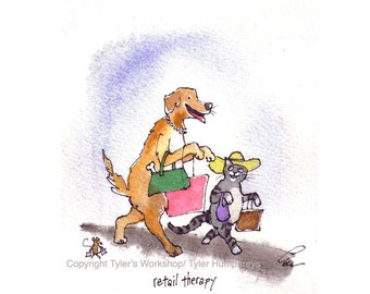 Funny Animals Greeting Card- Mouse Dog & Cat Card- Watercolor Animals Illustration Cartoon Print-'Retail Therapy'
