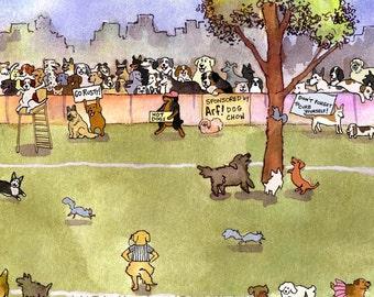 Funny Dog Card - Dog Art - Cartoon Dog Greeting Card 'The Annual Dog Day Squirrel Chasing Tournament'