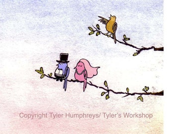 Wedding Card - Funny Birds Bride and Groom Wedding Card - Getting Married Card - Watercolor Wedding Art - 'Lovebirds'