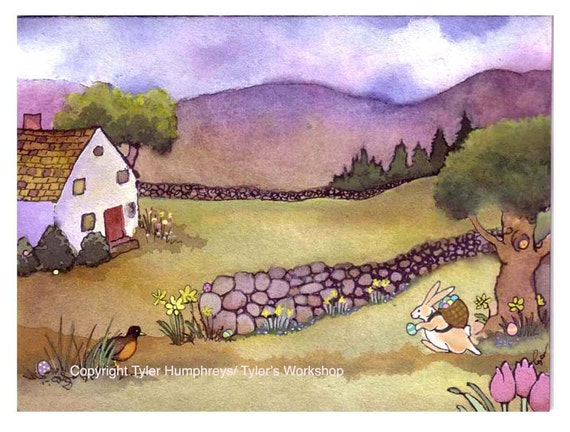 Easter Card- Easter Bunny- Landscape Rabbit Spring Easter Watercolor Painting Illustration Print 'Easter Morning'