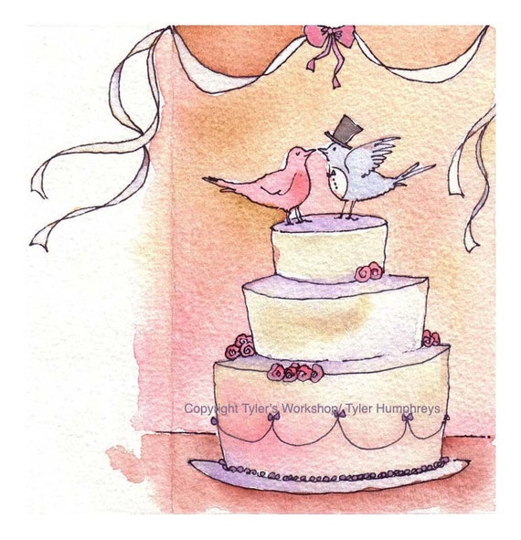Wedding Greeting Card - Wedding Cake Doves Watercolor Painting Illustration Print