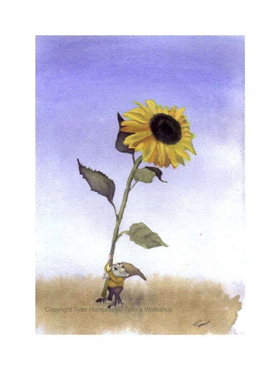 Gnome with Sunflower Blank Card, Garden Gnome Sunflower Watercolor Illustration Greeting Card Print, Fantasy Art Gnome Elf Fairy Cards