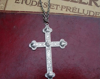 Large Renaissance Style Cross Silver Long Chain Pendant