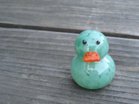 glass duck small sculpture OPAQUE LIGHT GREEN