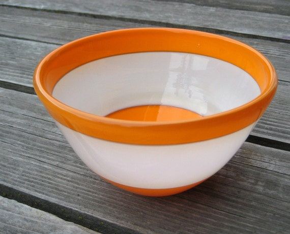 blown glass creamsicle bowl ORANGE & VANILLA
