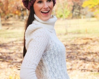 Grape Fix Slouchy Beanie Hat Crochet Pattern PDF