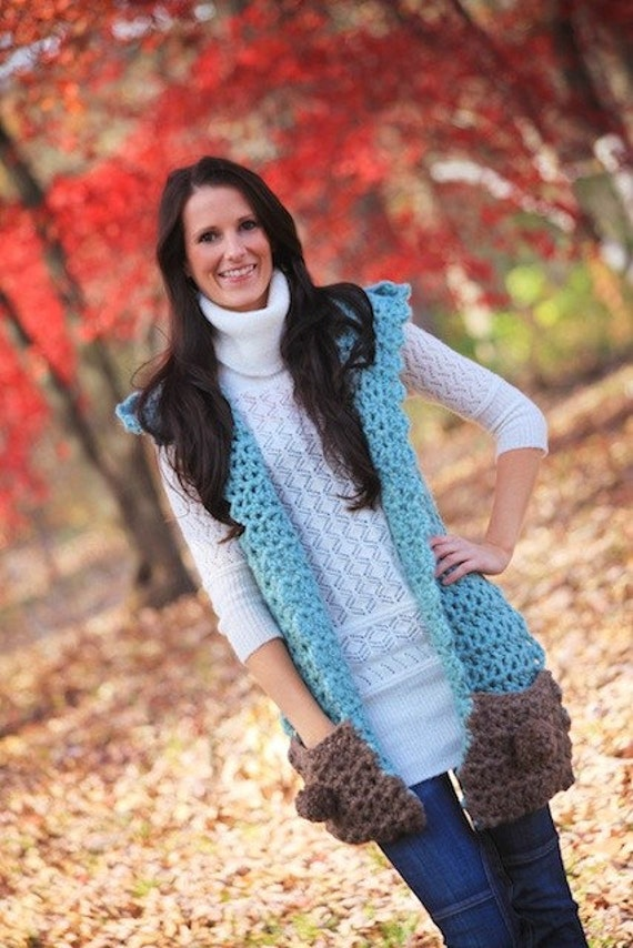 Blue Dream Scarf Hoodlet with Pockets Crochet Pattern PDF